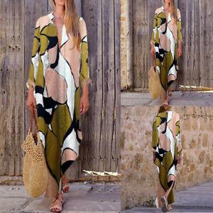 UK Women Oversized Vintage Floral Baggy Tunic Split Shirt Maxi Dress Kaftan Plus