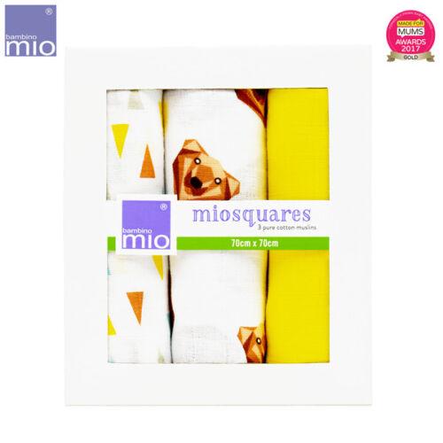 3 Stück Bambino Mio Mullwindeln 70x70cm - MioSquares