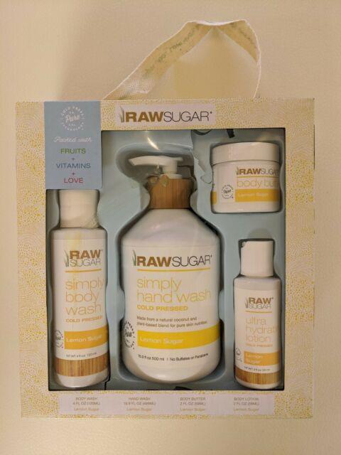 Raw Sugar Lemon Sugar 4 PC Gift Set  New