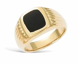 New-18ct-Gold-Filled-Signet-Ring-Diamond-Cut-and-Black-Onyx-for-Men-039-s-B155