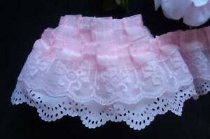 """Solid  3/"""" Wide Ruffled//Gathered Lace 30 Color Choices Per 3 Yards"""