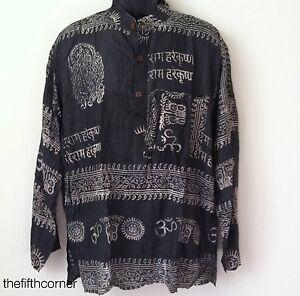 S-4XL-UNISEX-Hare-Rama-Om-Hindu-Yoga-Prayer-T-Shirt-Kurta-Top-Hippie-Handmade