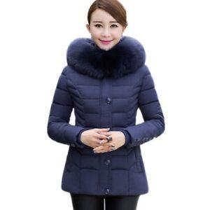8b35bd116bfcb Women s Slim Winter Coat Big Fur Collar Hooded Thick Jackets Six ...