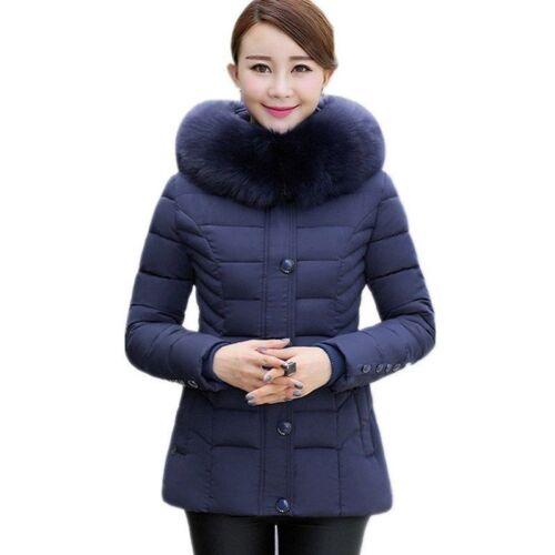taille la plus col veste Manteau grande épais d'hiver de capuchon fourrure femme six à couleurs wwOq67apx