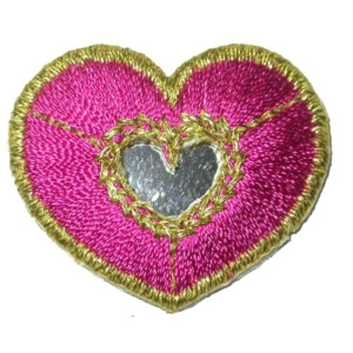 IRON ON PATCH APPLIQUE HEART MIRRORED PINK