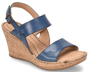 f5ea0e0b1c02 Women s Born Cherry Cork Wedge Ankle Strap Leather Sandals Navy Blue ...