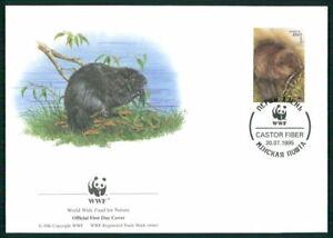 Le Belarus Bijoux-fdc 1995 Wwf Faune Animaux Animals Castor Beaver Castor El85-afficher Le Titre D'origine