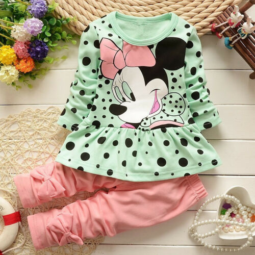 2pcs Newborn Infant Baby Boy Girl Clothes T-shirt Tops+Pants Minnie Outfits Set