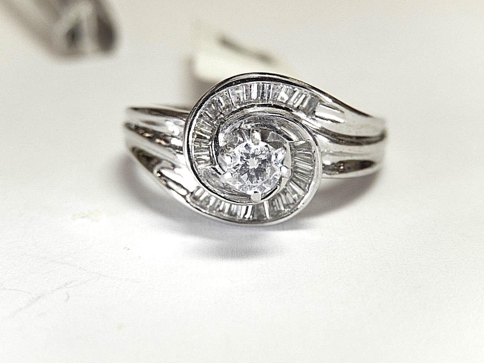 14K White gold .50CT Natural VS Diamond Engagement Halo Swirl  Ring Size 8.75