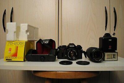 Original Koffer Und Blitz! Zwei Lens Dynamisch Analoge Fotoapparat Ricoh Kr-10 Megaset