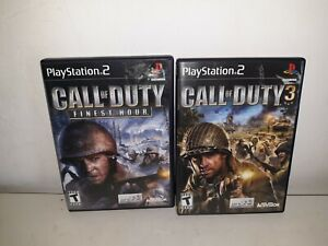 Call of Duty Lot of 2 Finest Hour and 3 Sony Playstation 2 PS2