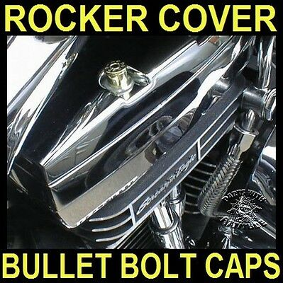 BRASS BULLET BOLT CAPS for HARLEY TWIN CAM ROCKER BOX BOLTS (SET OF 4)      b/u