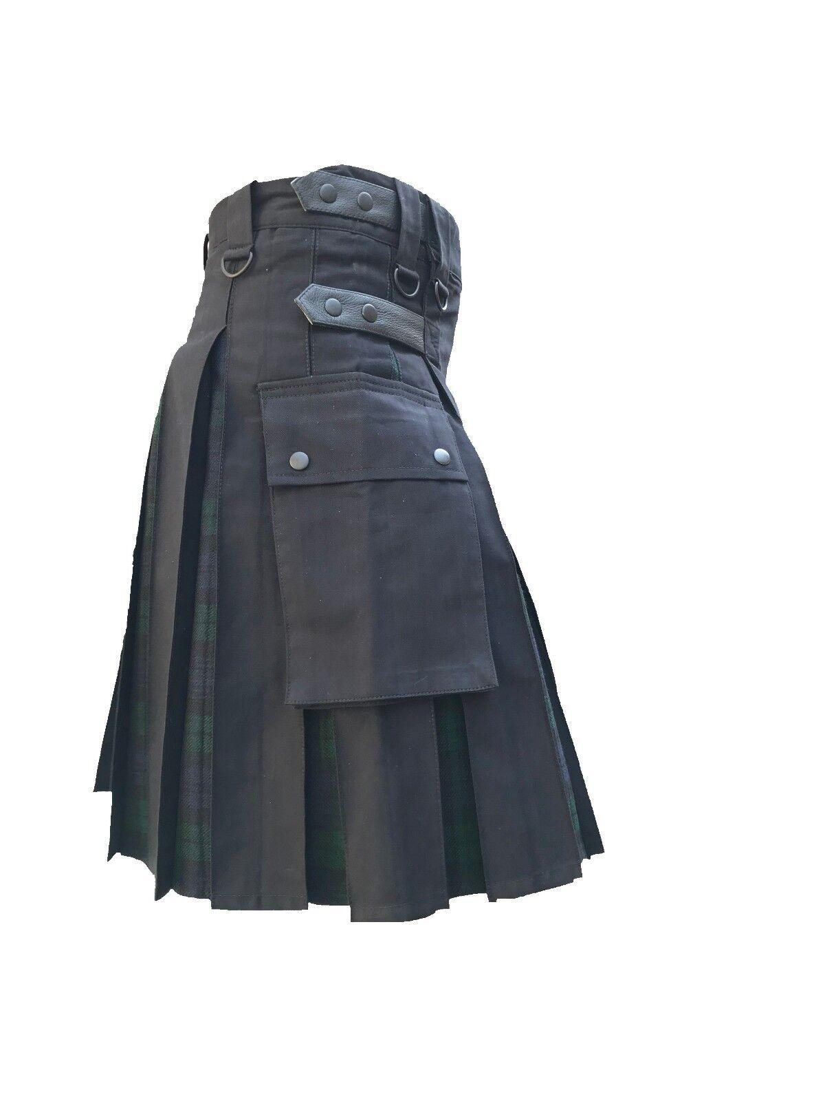 Men's Hybrid Black Cotton & Blackwatch Tartan Utility Kilt Leather Straps