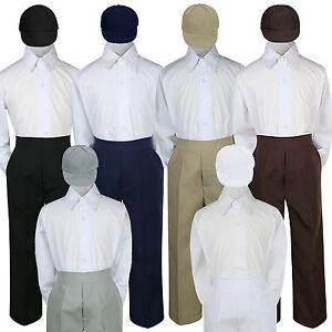 3pc Set Baby Boy Kid Navy Brown Black Khaki White Pants Hat Uniform Suits sz S-7