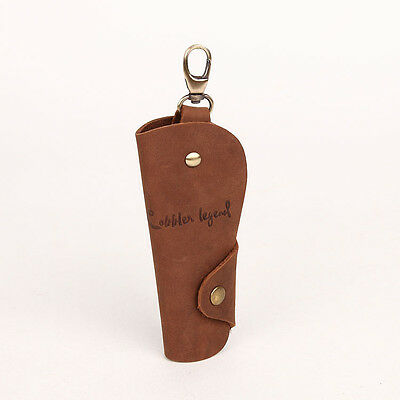Mens Genuine Leather Cowhide Brown Key Case Chains Rings Tag Male 121022