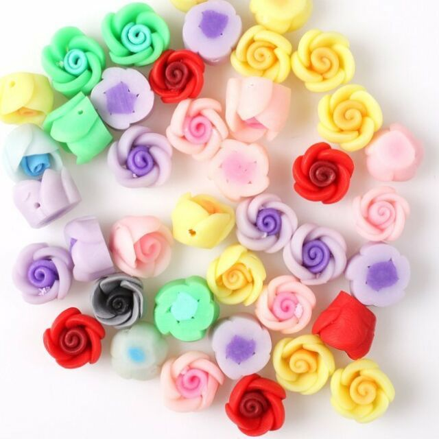 40 Mixed Wholesale Flower FIMO Polymer Clay Bead 110625