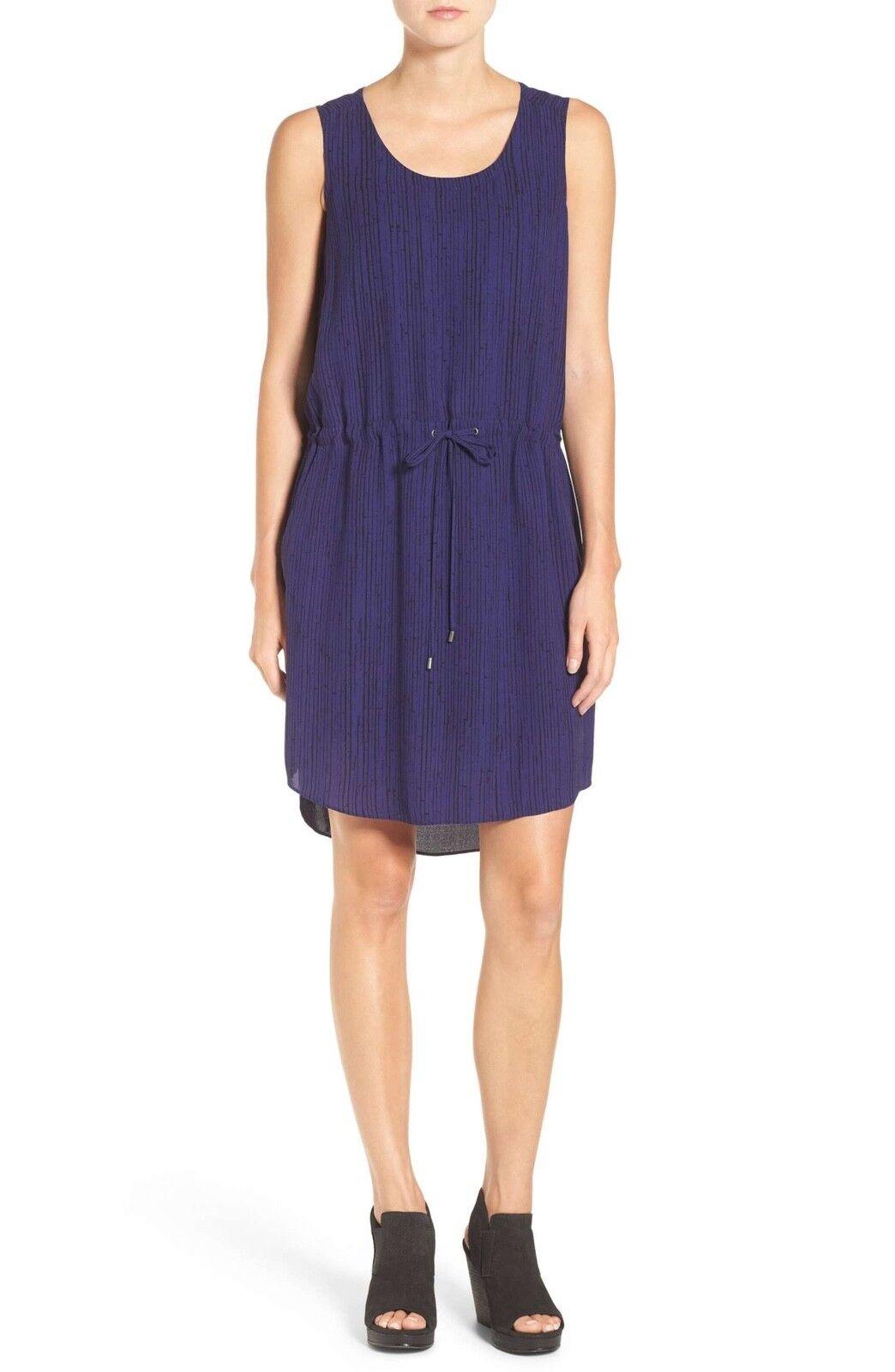 New Eileen Fisher Shima Print Silk Scoop Neck Blouson Dress Blau