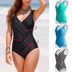 Plus Size Women S Vintage Monokini One Piece Retro Swimwear Bathing