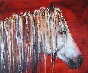 Canvas Santa Fe >> Details About Beautiful Stunning Oil On Belgian Linen Canvas Horse Painting Santa Fe Nm Artist