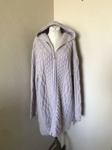 Aran Crafts L soft lilac 100% wool zip hoody heavy