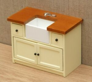 1:12 Dolls House Sink unit cream shaker style
