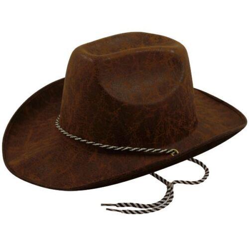 Adults Dark Brown Cowboy Leather Look Stetson Wild West Fancy Dress Hat
