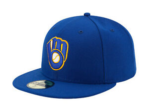 New-Era-59Fifty-MLB-Cap-Milwaukee-Brewers-ALT-Mens-Royal-Blue-Fitted-5950-Hat