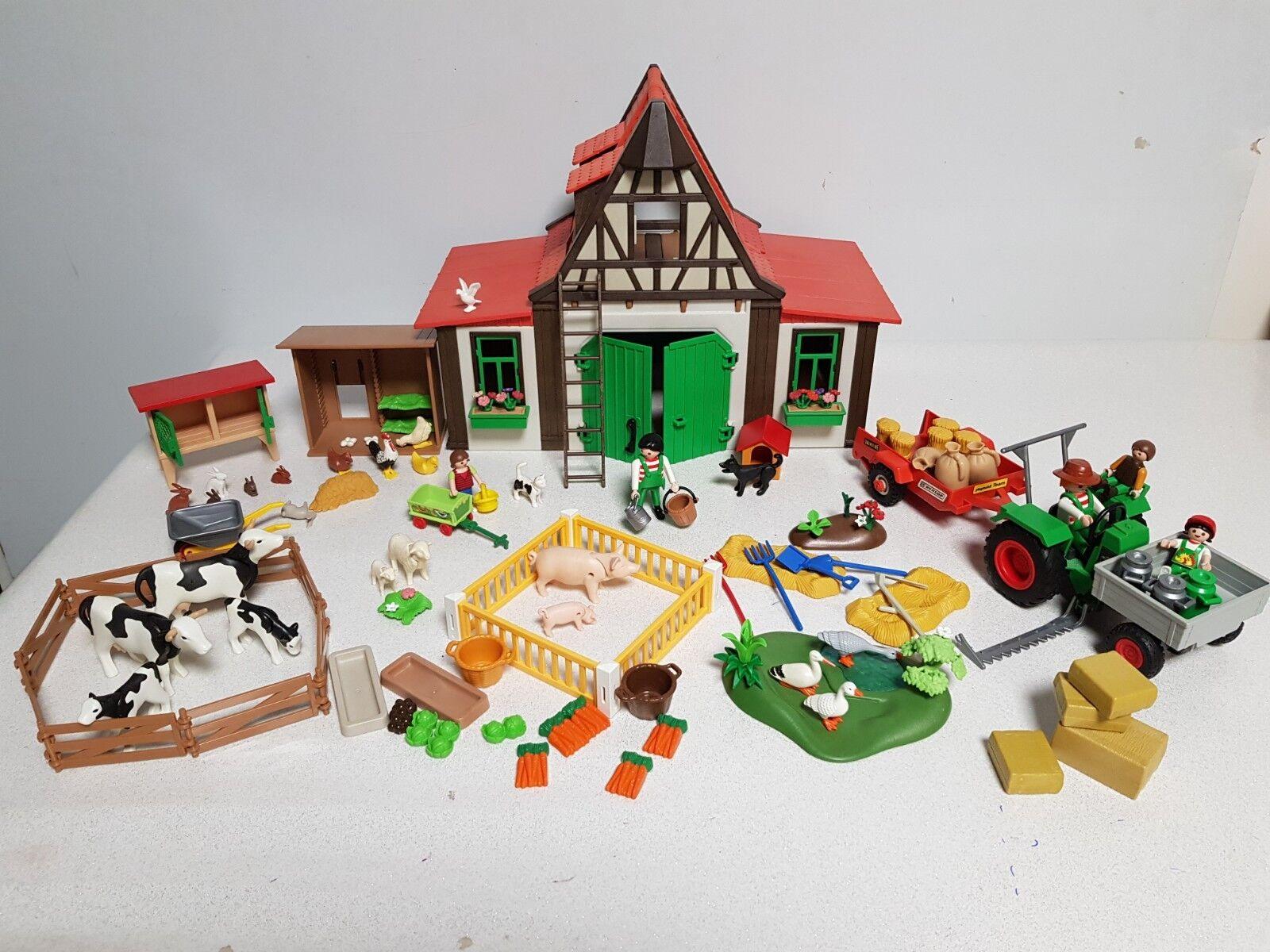 Playmobil Ferme tracteur  faucheuse remorque animaux personnages accessoires -31  acheter pas cher neuf