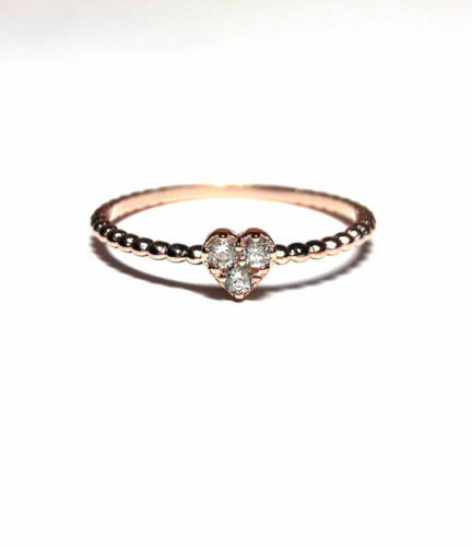 10k solid gold heart Ring-Solitaire Ring ,dainty Ring Zirconia ring unique ring