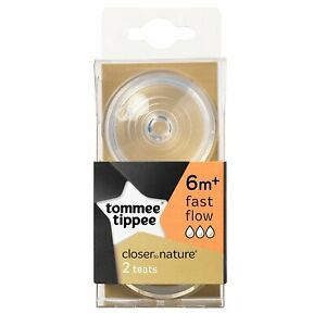 Tommee-Tippee-Closer-to-Nature-Fast-Flow-Teats-Nipples-Bottle-Baby-Feeding-2Pcs