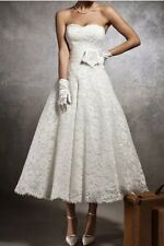 UK Vintage Tea Length White/Ivory Wedding Dress Prom Ball Bridal Gown Size 6-18
