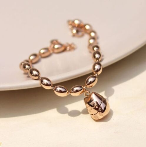 Women/'s 18K Rose Gold Filled Solid Lucky Cat Maneki Neko Pendant Charm Bracelet