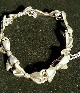 Vintage Margot De Taxco Rare Sterling Silver Bow Necklace, Bracelet & Earrings