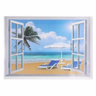 Large 3D Window Beach Sea View Wall Stickers Removable Art Decal Mural Stickers