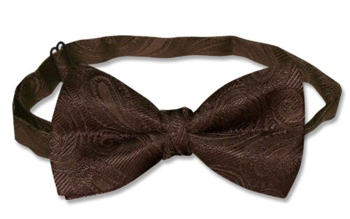 COVONA Mens BOW Tie Solid CHOCOLATE BROWN Color PAISLEY BOWTIE for Tux or Suit