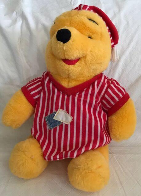 "4f8dbf2d4e82 WINNIE the POOH BEAR IN PAJAMAS Nightshirt   Cap PLUSH 1998 Disney Mattel  14"""