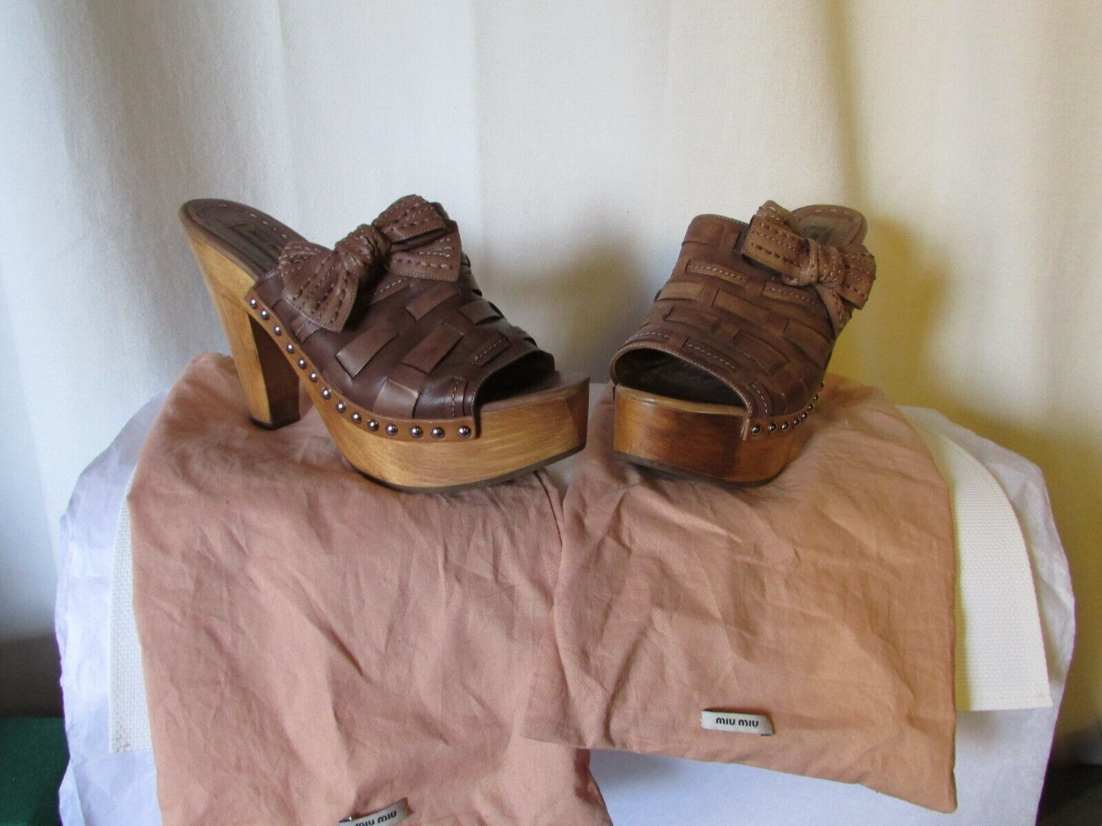 Wedge Sandals Miu Miu Brown Leather Size 39,5