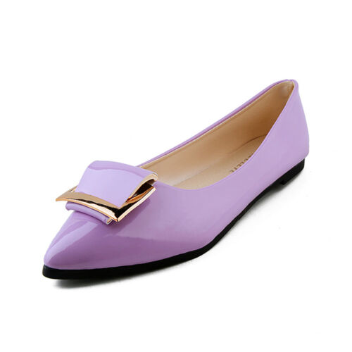 Women Flats Patent Leather Loafers Slip On Square Shoes Pumps Ballet Shoes Gift