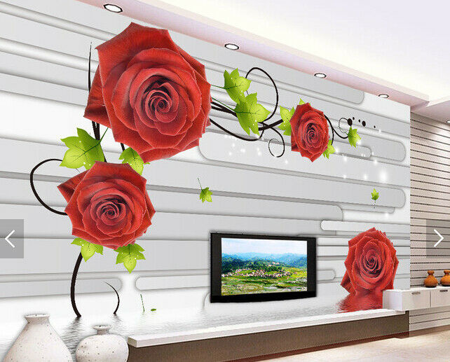 3D ROT Flowers 838 Wallpaper Mural Paper Wall Print Wallpaper Murals UK Carly