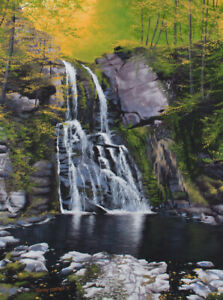 Original Acrylic Painting Spring Waterfall 18x24 Landscape by Timothy Stanford