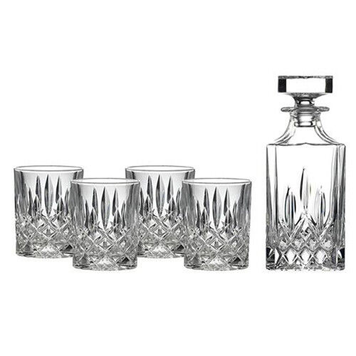 ROYAL DOULTON SQUARE SPIRIT 5PC DECANTER SET (SET OF 4 TUMBLERS )  499