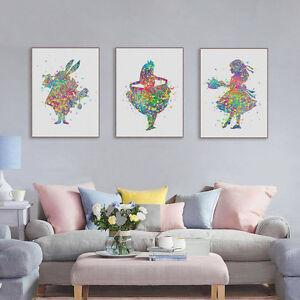 3pcs-Watercolor-Alice-In-Wonderland-Canvas-Art-Print-Poster-Girl-Room-Wall-Decor