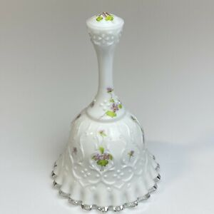Vintage-FENTON-Spanish-Lace-Milk-Glass-Bell-Hand-Painted-Violets-on-Snow