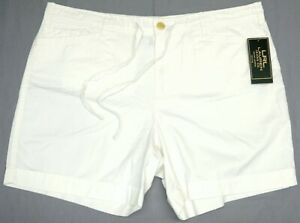 NEW-59-LRL-Ralph-Lauren-Petite-Womens-Shorts-White-Drawstring-100-Cotton-NWT