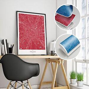 Stampa Giclee Mappa di Milano Wall Art Print Poster Minimalista Alta Definizione