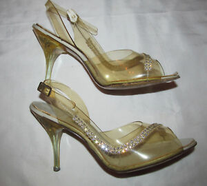 afe65e54f7b 50 s pin up burlesque clear lucite etched heel rhinestone slingback ...