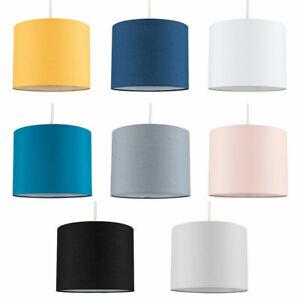 CILINDRO-a-Tamburo-Ciondolo-Soffitto-Lampada-Da-Tavolo-Luce-Tonalita-Easy-Fit-Tessuto-Lighting