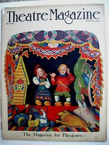 "Periods & Styles Well-Educated Vintage March 1925 Theatre Magazine W/ Bright Colored Cover By B Gussow"" * Art Deco"