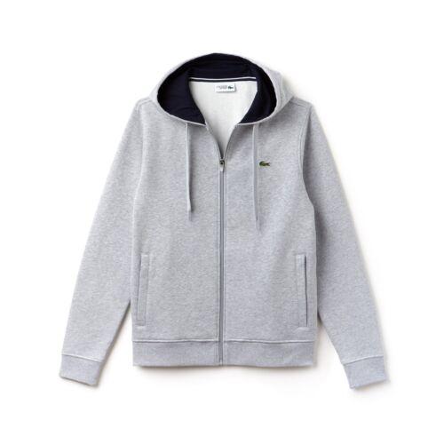 Lacoste Silver Chine//Navy Blue Sport Full Zip Brushed Fleece Hoodie