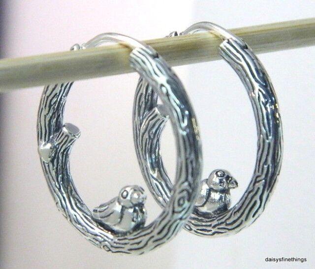 Pandora Hoop Earrings: Authentic PANDORA #297072 Spring Bird Sterling Silver Hoop